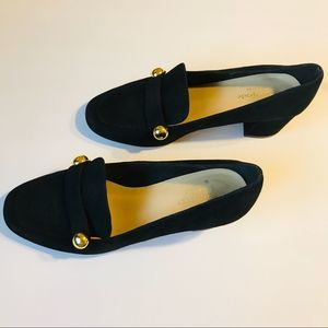 Kate Spade Leather Black Heeled Loafers